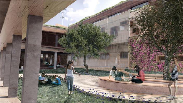 Αυλή ∆ευτεροβάθµιας Εκπαίδευσης µε κυκλικό καθιστικό κάτω από ελιά ως τόπο συνάντησης, στοές περιµετρικά των αιθουσών, πράσινους φυτευτούς τοίχους και τοίχο νερού για δροσιά το καλοκαίρι